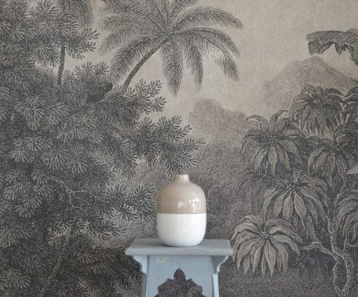 Vase beige et blanc