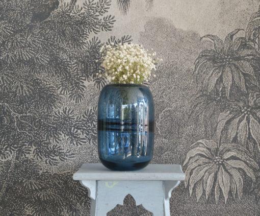 Vase boule bleu