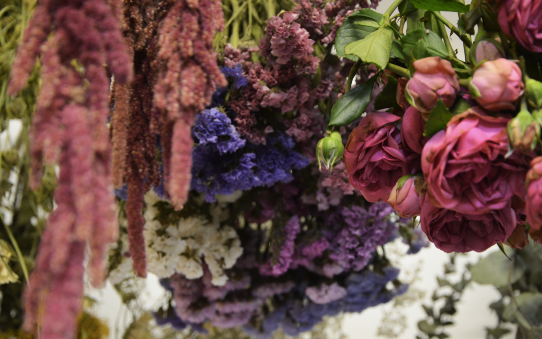 bouquets de fleurs qui sèchent