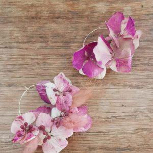 Boucle d'oreilles en fleurs séchées roses